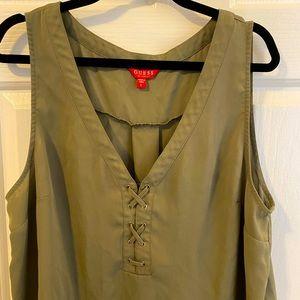 ✨Host Pick✨ Guess Olive Green Smocked Sleeveless Chiffon Top